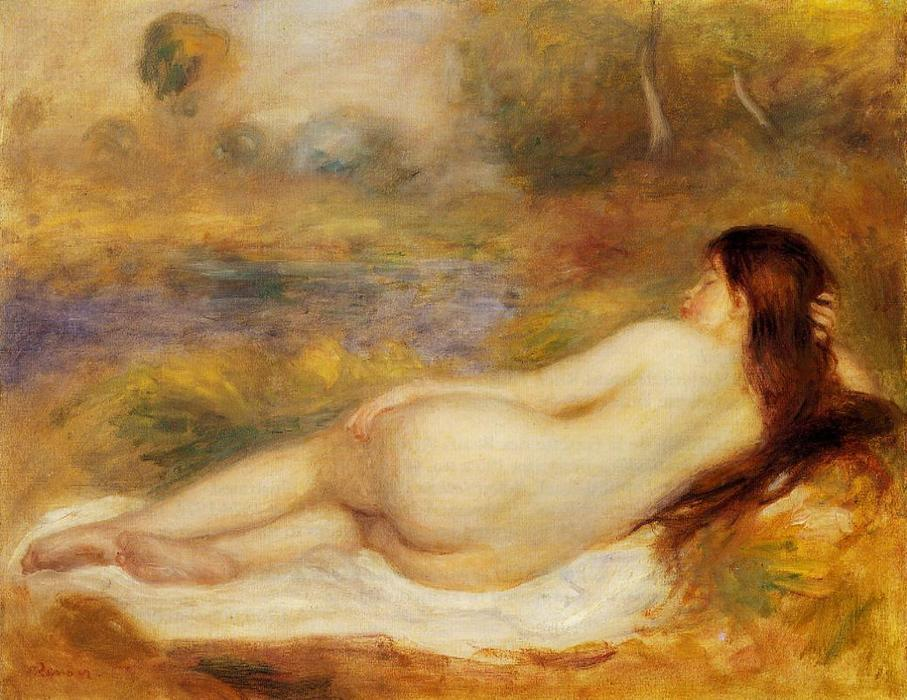 famous painting Nude Reclining on the Grass of Pierre-Auguste Renoir