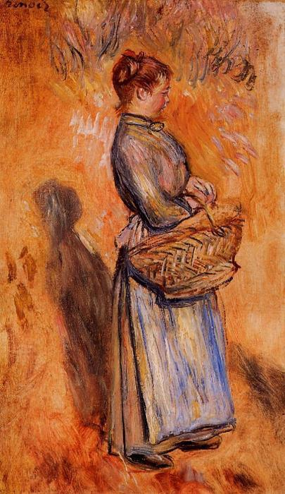 famous painting Peasant Woman Standing in a Landscape of Pierre-Auguste Renoir