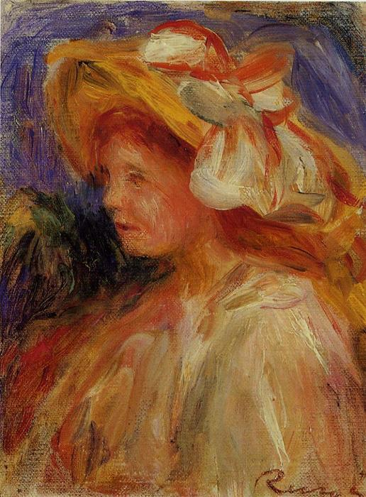 famous painting Profile of a Young Woman in a Hat of Pierre-Auguste Renoir