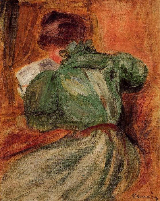 famous painting Reader in Green of Pierre-Auguste Renoir