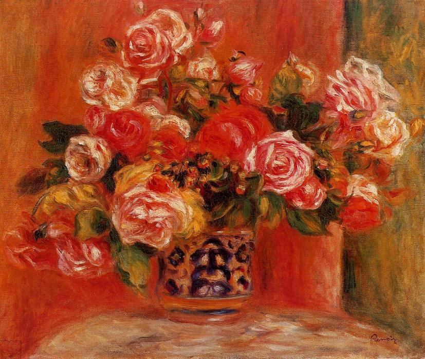famous painting Roses in a Vase of Pierre-Auguste Renoir