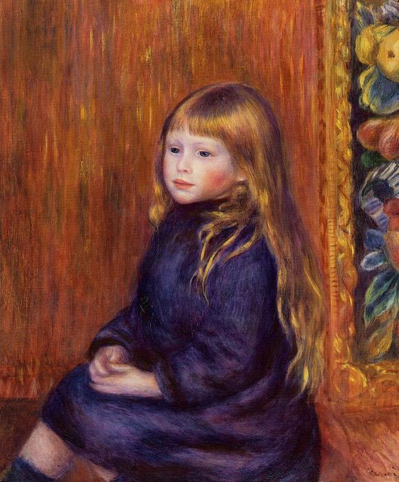 famous painting Seated Child in a Blue Dress of Pierre-Auguste Renoir