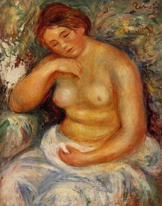 Pierre-Auguste Renoir - Seated Nude with a Bouquet