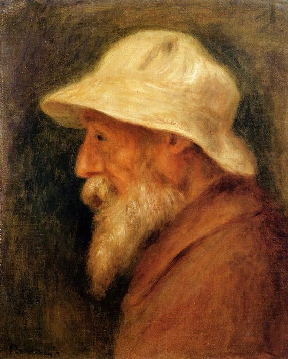 famous painting Self-Portrait with a White Hat of Pierre-Auguste Renoir