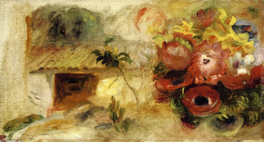 famous painting Small House, Buttercups and Diverse Flowers (study) of Pierre-Auguste Renoir