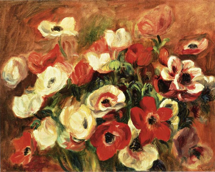 famous painting Spray of Anemones of Pierre-Auguste Renoir