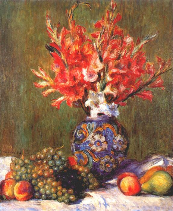 famous painting Still Life Flowers and Fruit of Pierre-Auguste Renoir