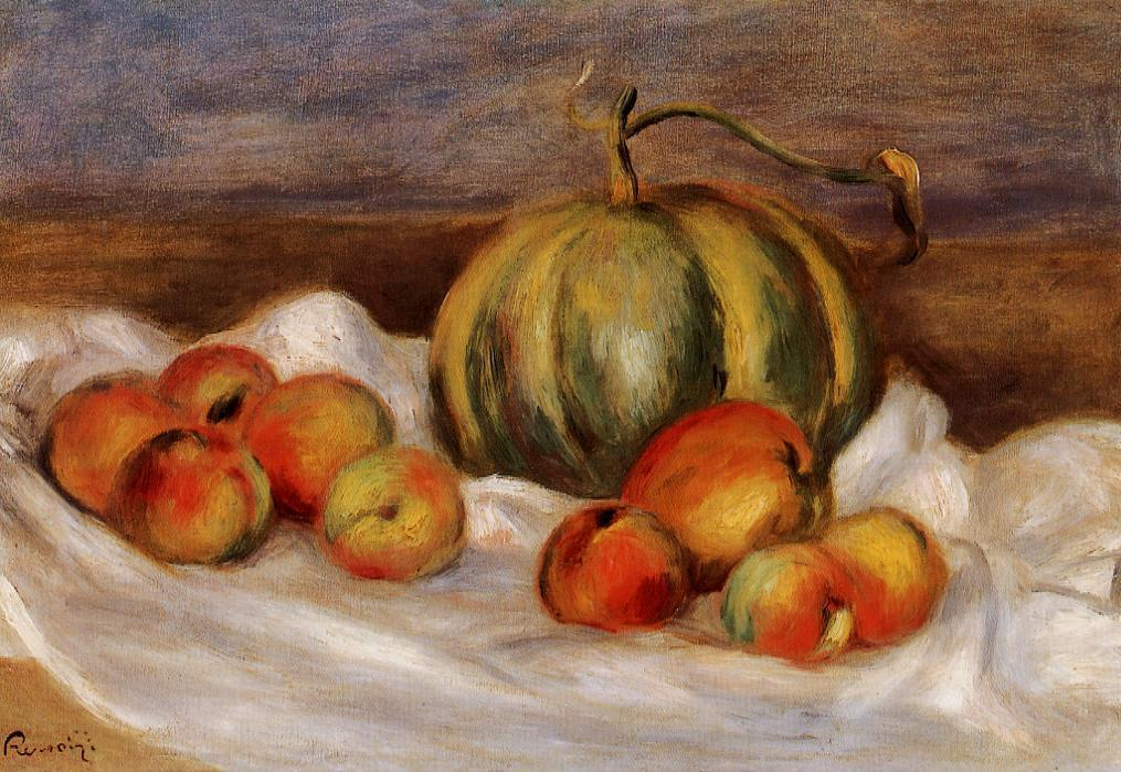 famous painting Still Life with Cantalope and Peaches of Pierre-Auguste Renoir