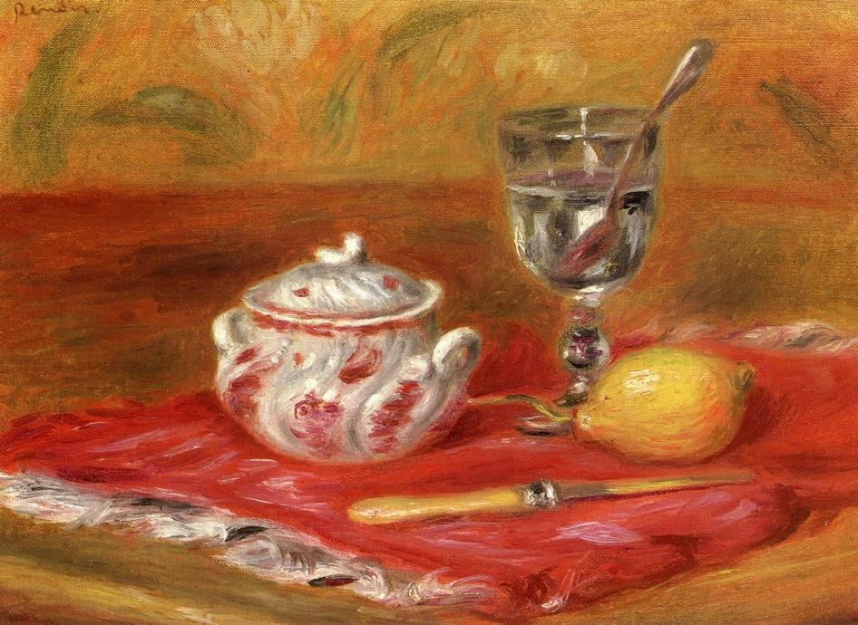 famous painting Still LIfe with Glass and Lemon of Pierre-Auguste Renoir