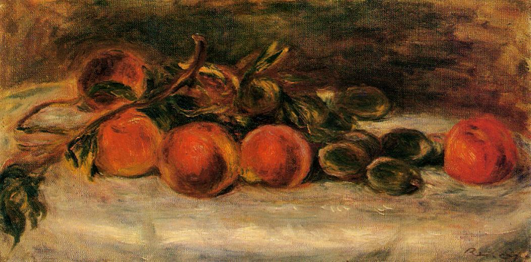 famous painting Still Life with Peaches and Chestnuts of Pierre-Auguste Renoir