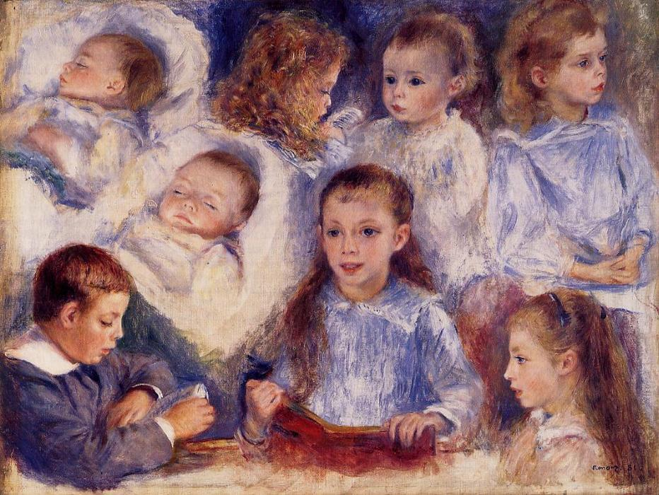 Order Art Reproductions Impressionism : Studies of the Children of Paul Berard by Pierre-Auguste Renoir | TopImpressionists.com