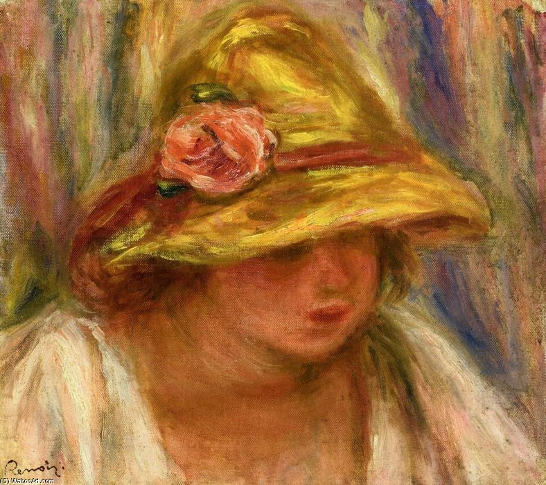 famous painting Study of a Woman in a Yellow Hat of Pierre-Auguste Renoir