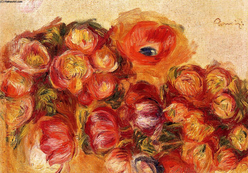 famous painting Study of Flowers Anemones and Tulips of Pierre-Auguste Renoir