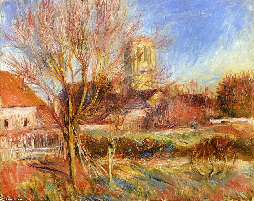famous painting The Church at Essoyes of Pierre-Auguste Renoir