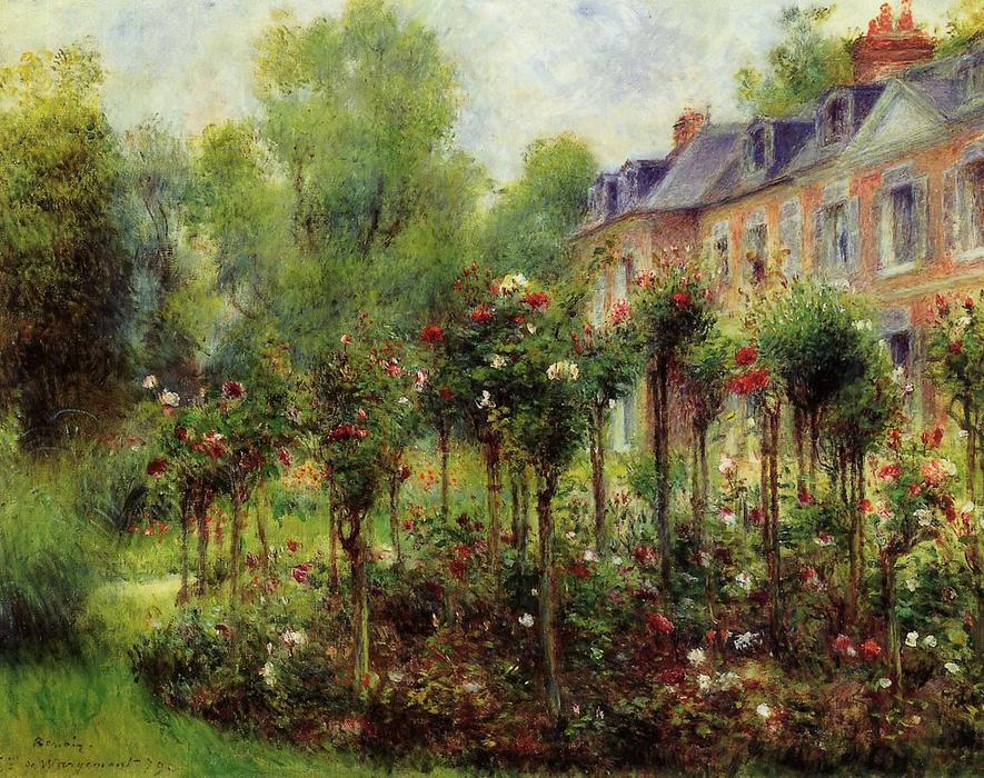 famous painting The Rose Garden at Wargemont of Pierre-Auguste Renoir