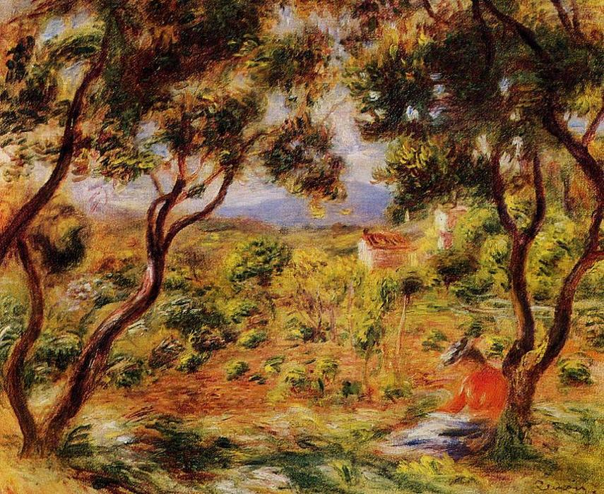 famous painting The Vineyards of Cagnes of Pierre-Auguste Renoir