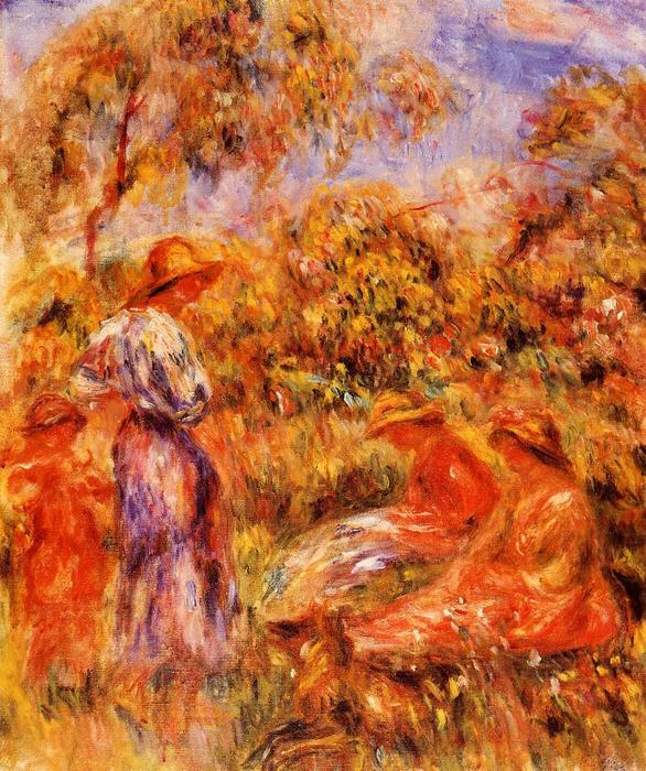 famous painting Three Women and Child in a Landscape of Pierre-Auguste Renoir
