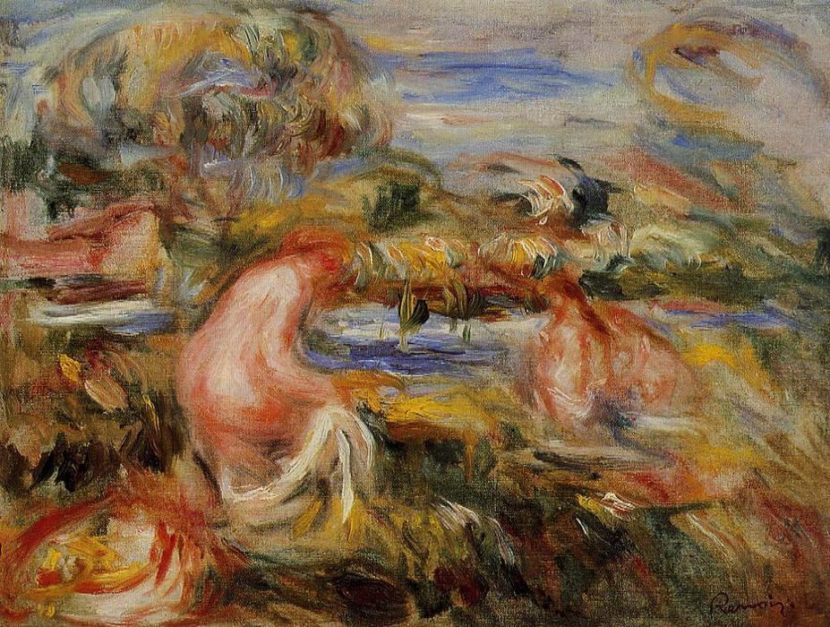 famous painting Two Bathers in a Landscape of Pierre-Auguste Renoir