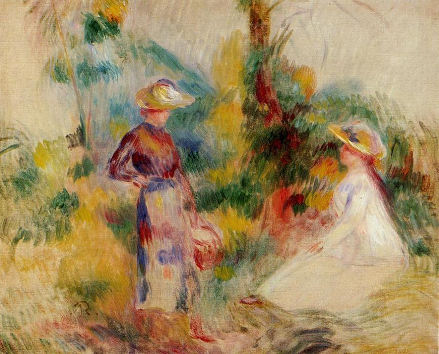 famous painting Two Women in a Garden 1 of Pierre-Auguste Renoir