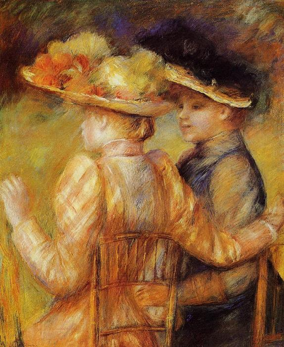 famous painting Two Women in a Garden of Pierre-Auguste Renoir