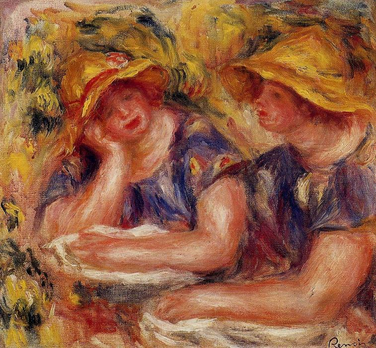famous painting Two Women in Blue Blouses of Pierre-Auguste Renoir