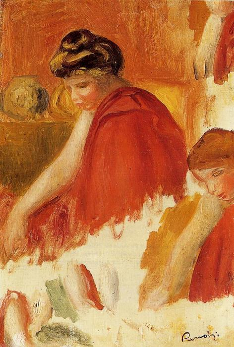 famous painting Two Women in Red Robes of Pierre-Auguste Renoir