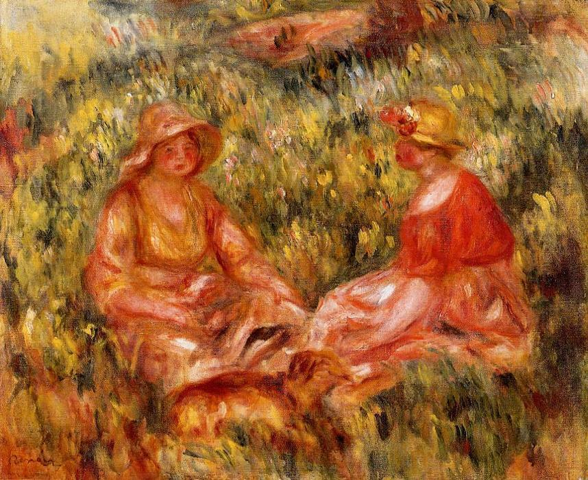 famous painting Two Women in the Grass of Pierre-Auguste Renoir