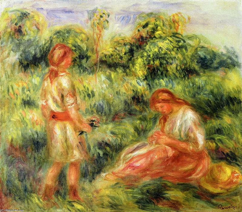 famous painting Two Young Women in a Landscape of Pierre-Auguste Renoir