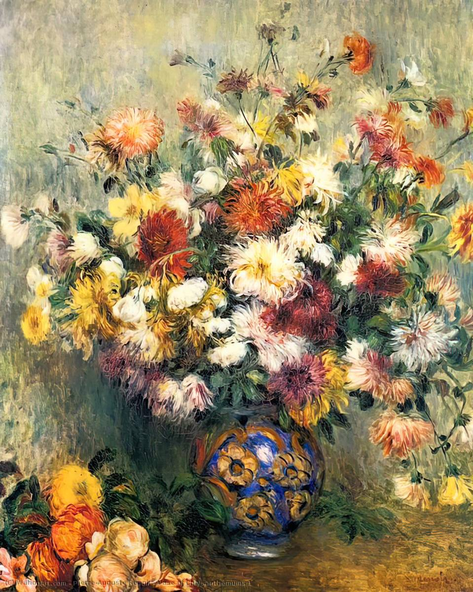 Buy Museum Art Reproductions Impressionism | Vase of Chrysanthemums 1 by Pierre-Auguste Renoir | TopImpressionists.com