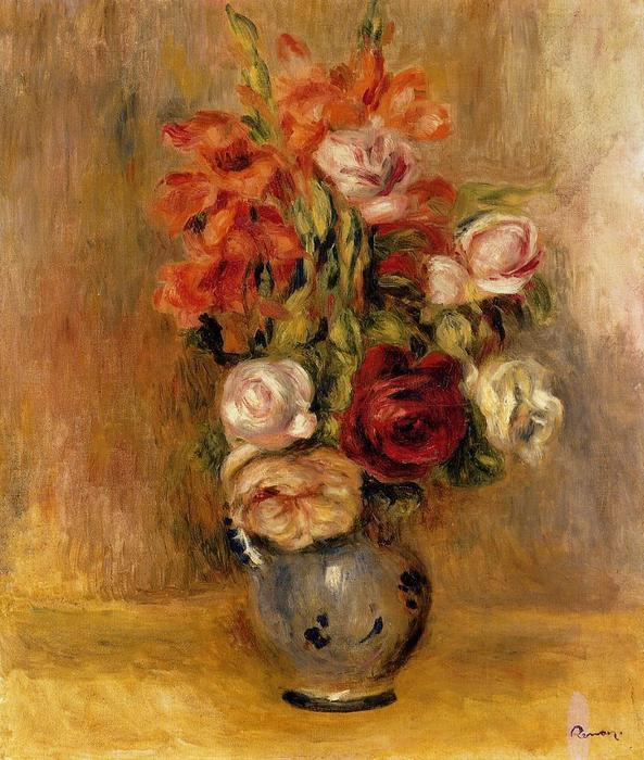 famous painting Vase of Gladiolas and Roses of Pierre-Auguste Renoir