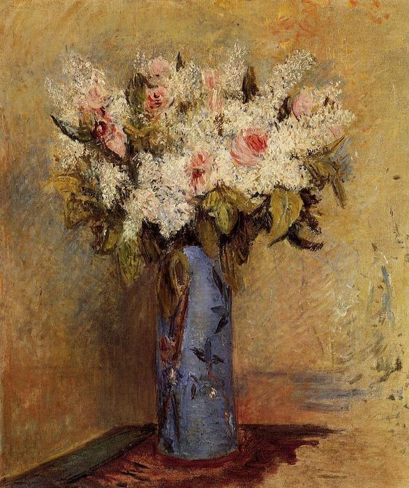 famous painting Vase of Lilacs and Roses of Pierre-Auguste Renoir