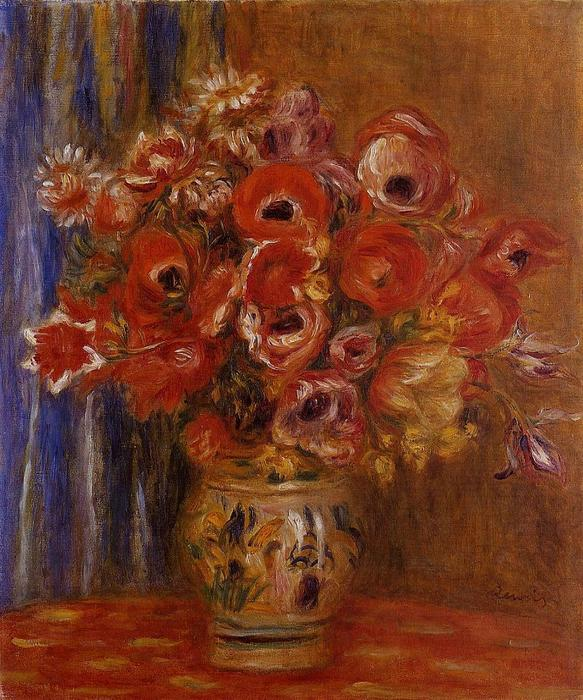 famous painting Vase of Tulips and Anemones of Pierre-Auguste Renoir