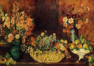 Pierre-Auguste Renoir - Vase, Basket of Flowers and Fruit