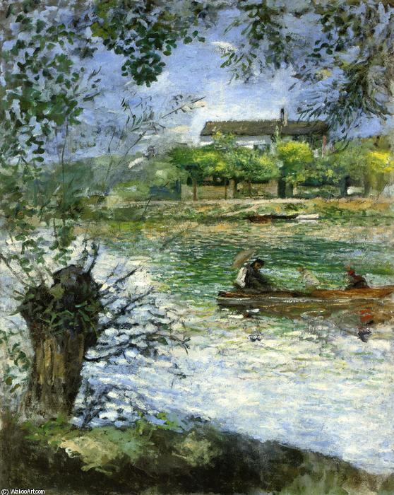 famous painting Willows and Figures in a Boat of Pierre-Auguste Renoir