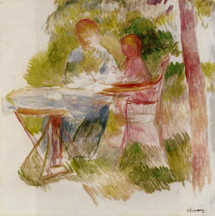 famous painting Woman and Child in a Garden (sketch) of Pierre-Auguste Renoir