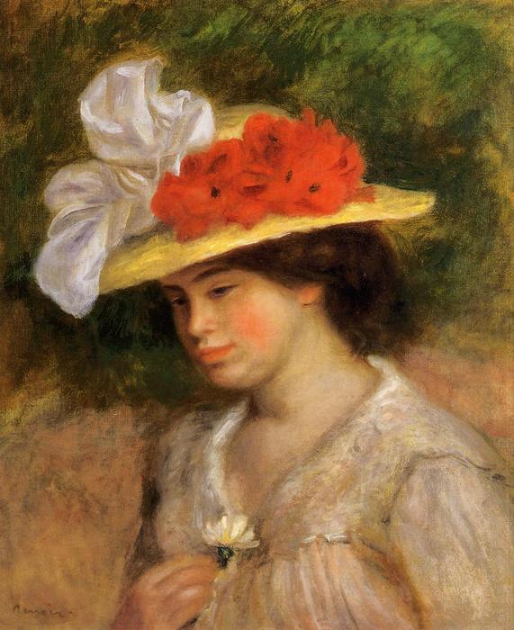 famous painting Woman in a Flowered Hat of Pierre-Auguste Renoir