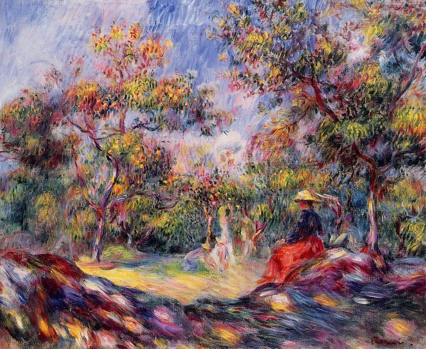 famous painting Woman in a Landscape 1 of Pierre-Auguste Renoir