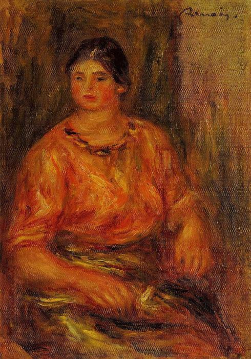 famous painting Woman in a Red Blouse 1 of Pierre-Auguste Renoir