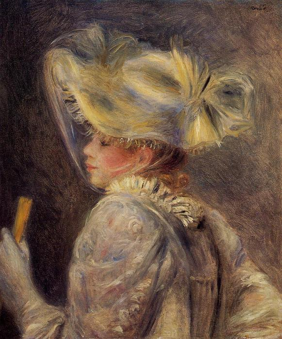 famous painting Woman in a White Hat of Pierre-Auguste Renoir