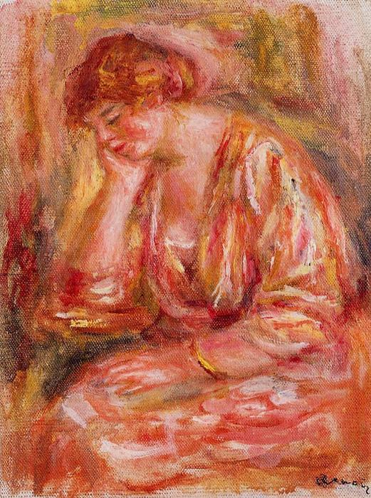 famous painting Woman Leaning on Her Elbow of Pierre-Auguste Renoir