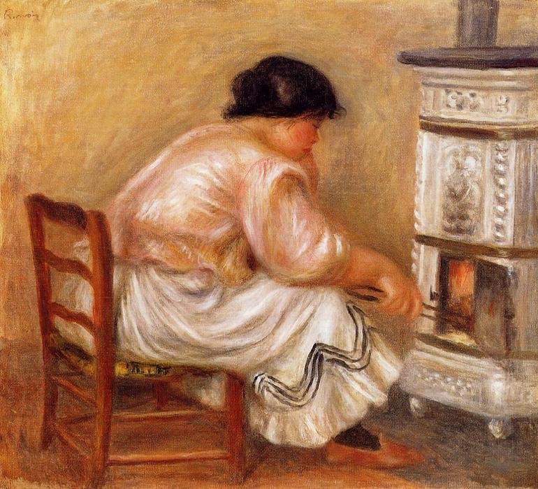 famous painting Woman Stoking a Stove of Pierre-Auguste Renoir