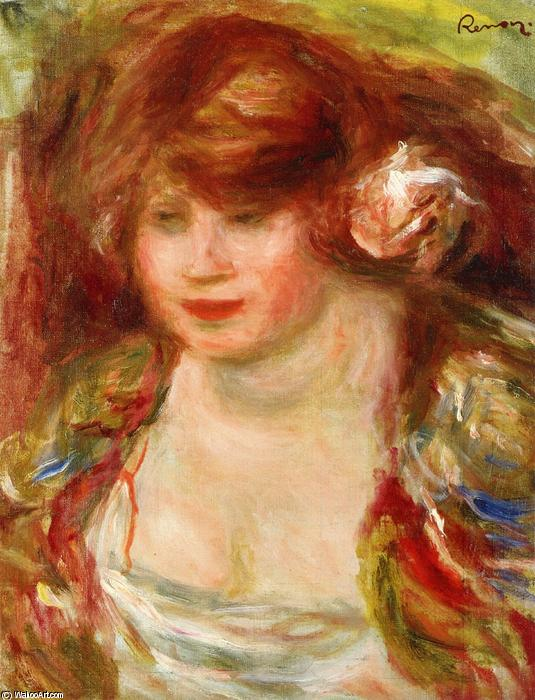 famous painting Woman Wearing a Rose Andree of Pierre-Auguste Renoir
