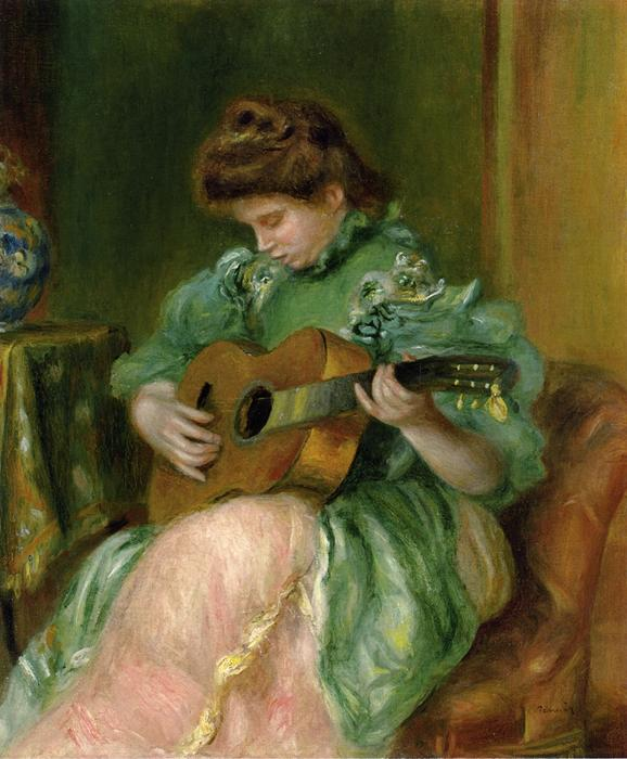 famous painting Woman with a Guitar of Pierre-Auguste Renoir