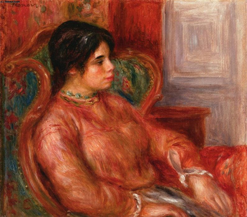 famous painting Woman with Green Chair of Pierre-Auguste Renoir