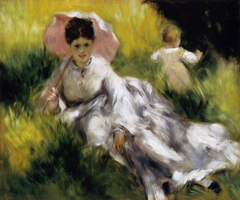 famous painting Woman with Parasol of Pierre-Auguste Renoir