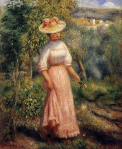 Pierre-Auguste Renoir - Young Woman in Red in the Fields
