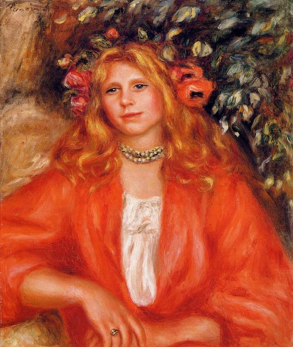 famous painting Young Woman Wearing a Garland of Flowers of Pierre-Auguste Renoir