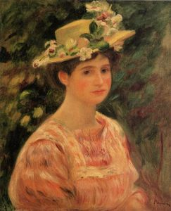 Pierre-Auguste Renoir - Young Woman Wearing a Hat with Wild Roses
