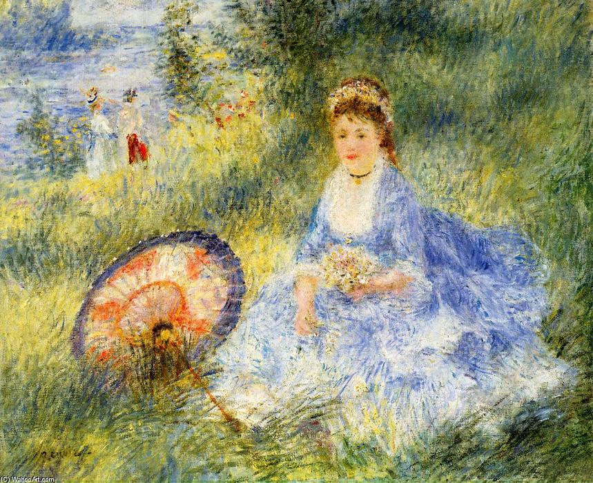 famous painting Young Woman with a Japanese Umbrella of Pierre-Auguste Renoir