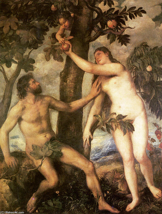 famous painting The Fall of Man of Tiziano Vecellio (Titian)